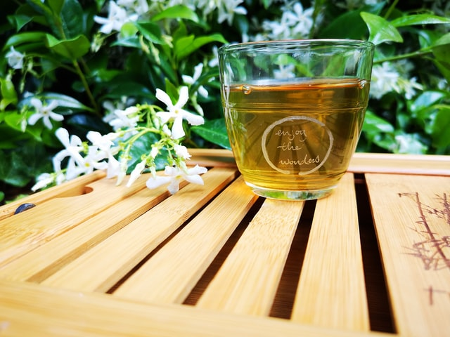 Green Tea on the wooden table