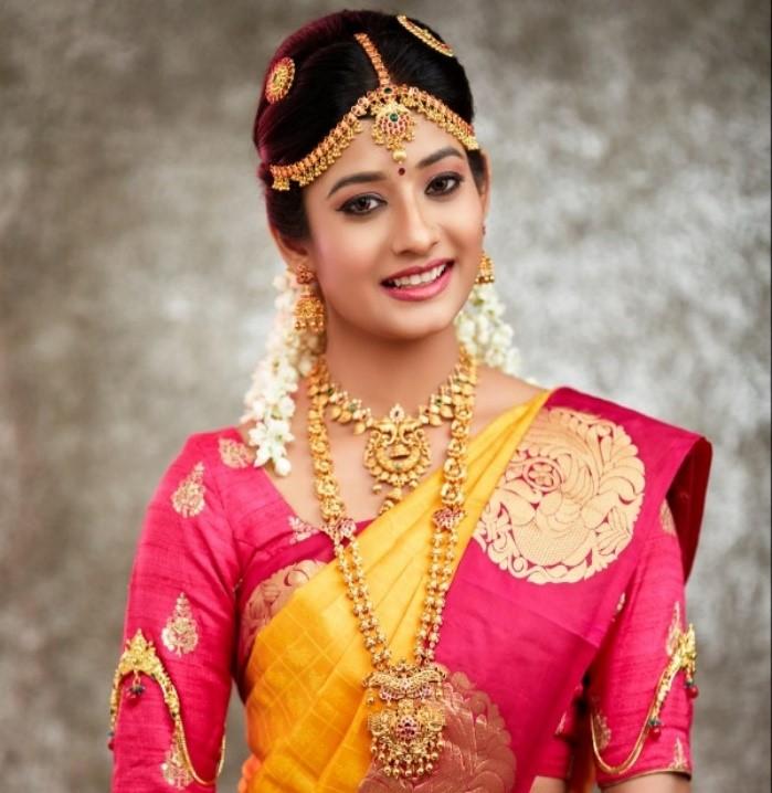 Tamil, bride, Kancheepuram, gold, jewels