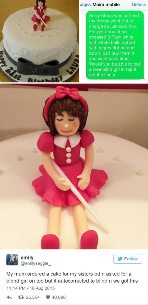 online shopping, auto correct, cake, birthday, sister, blind, bow, funny, blonde