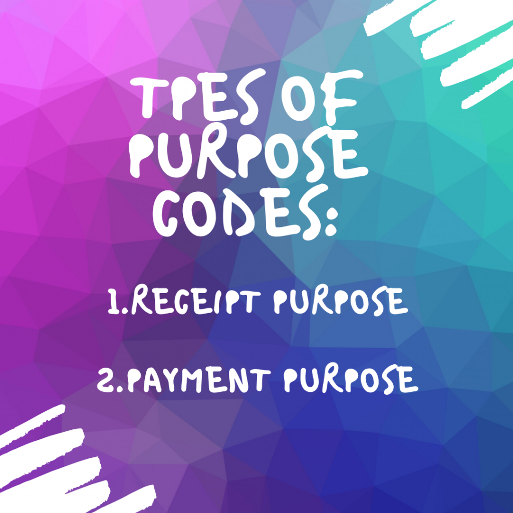 purpose codes, types, transactions, PayPal