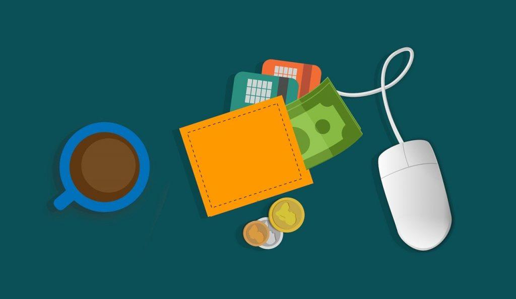 Online transaction, wallet, mouse, payments, cash