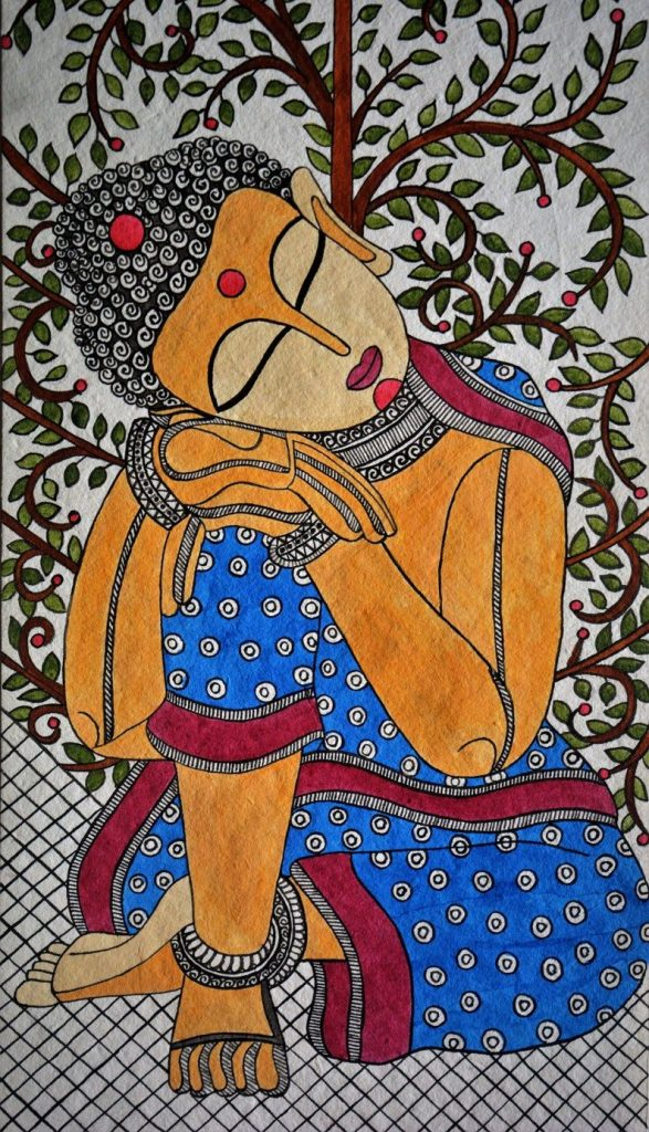 A beautiful piece of entirely handmade Madhubani Art of the Lord Buddha under the tree of life.Made on Handmade paper and Acrylic colors.It depicts Gautama Buddha in meditation.