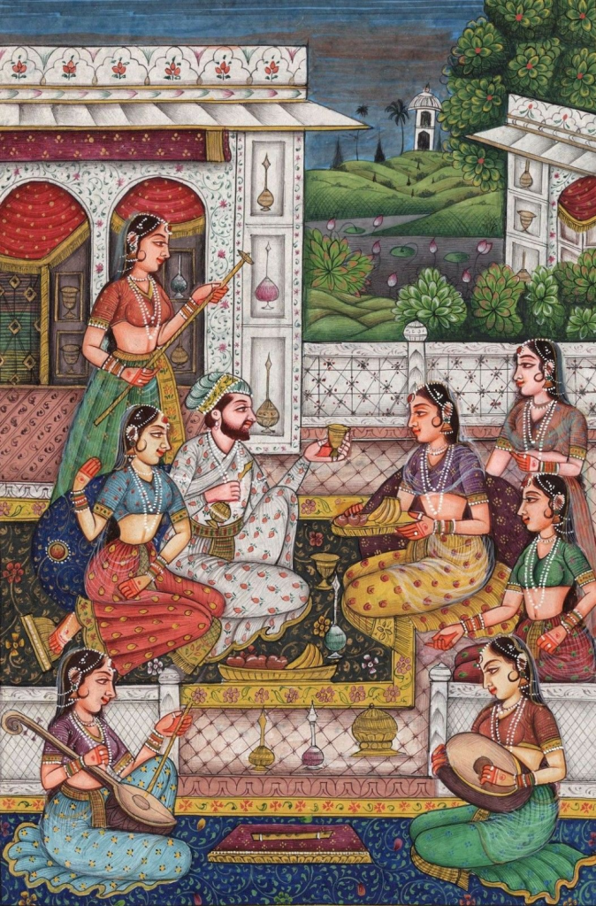 This is a Mughal style miniature painting depicting Indian Classical Folk Art. This traditional art is often very detailed and focuses on art with a long history that dates back to the scribes of the medieval ages.