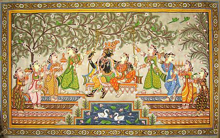 The patachitras are icon paintings  of Odhisa that include the wall paintings, manuscript painting, palm-leaf etching, and painting on cloth, both cotton and silk. Chitrakar or the painters in and around Puri practice this living art form.
