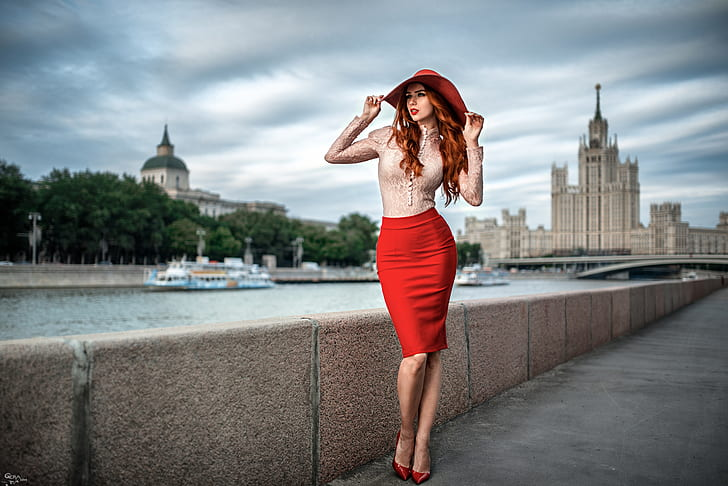 a girl with red pencil skirt